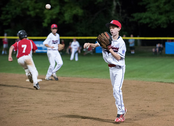 08/08/19 Wesley Bunnell | Staff New York defeated Washington, DC 15-4 on Thursday August 8, 2019 in a Mid Atlantic Region tournament game. Second baseman John McMurray (3) throws to first for the third out of the inning.