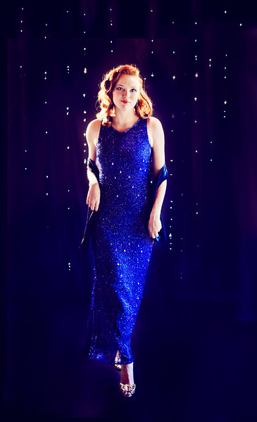 Sequin and Beaded Blue Evening Dress