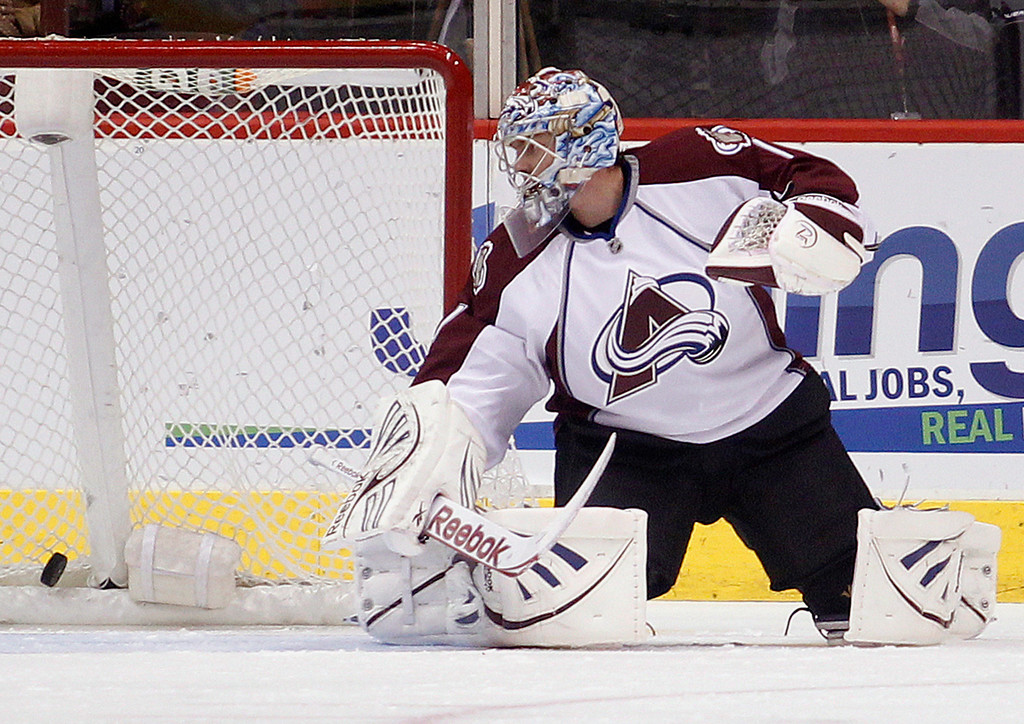 . Colorado Avalanche goalie Semyon Varlamov, of Russia, looks behind him for the puck on a goal scored by Phoenix Coyotes left winger Mikkel Boedker in the first period of NHL hockey game, Saturday, April 6, 2013, in Glendale, Ariz. (AP Photo/Paul Connors)