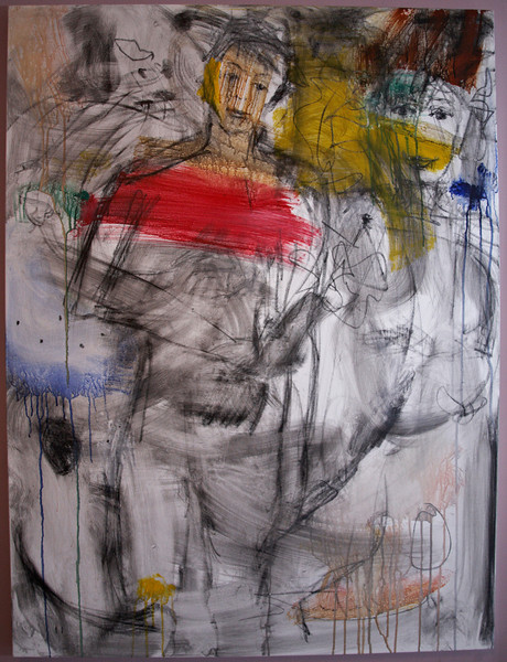 """2011, 36"""" x 48"""". Adam and Eve, Acrylic, pencil, pastel and charcoal on canvas."""