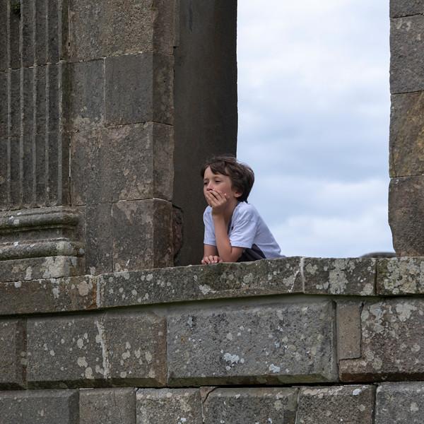 Boy at Downhill House, Downhill Demesne, Downhill, County Londonderry, Northern Ireland, United Kingdom
