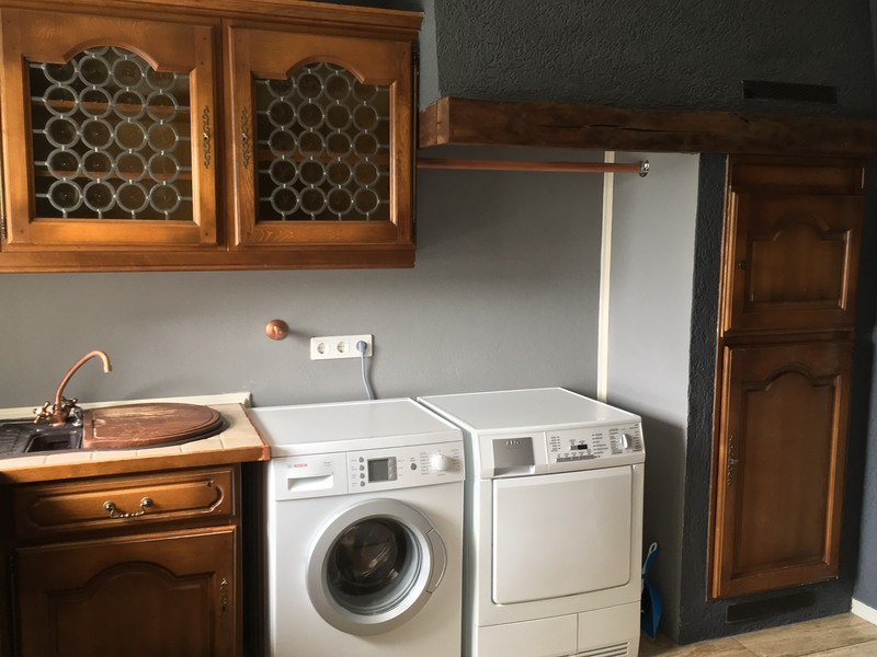 Washer and dryer come with the house. It's convenient having the washer and dryer on the same floor as the bedrooms.