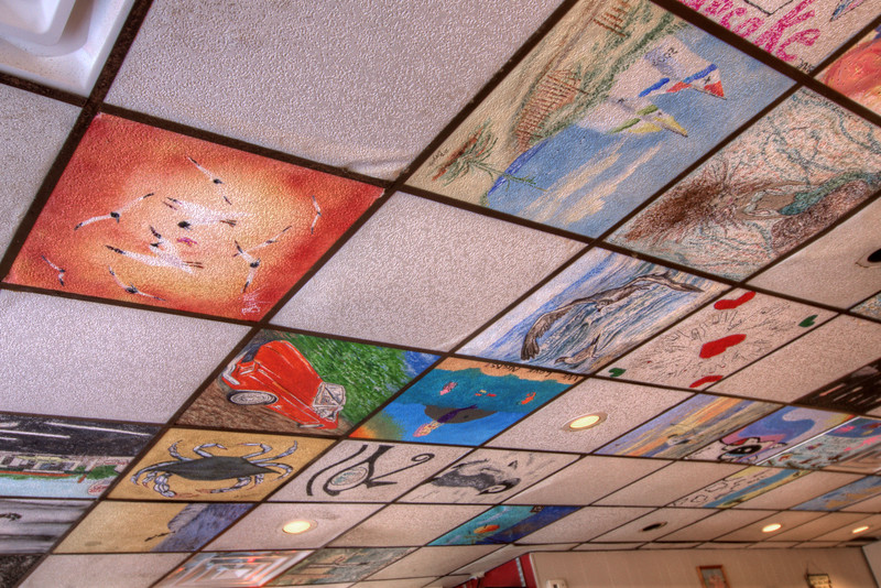 Beautifully painted ceiling tiles at Nick's Hospitality Restaurant in Virginia Beach, VA on Wednesday, August 19, 2015. Copyright 2015 Jason Barnette