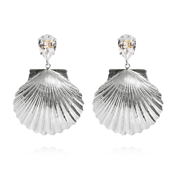 Shell Earrings / Crystal Rhodium