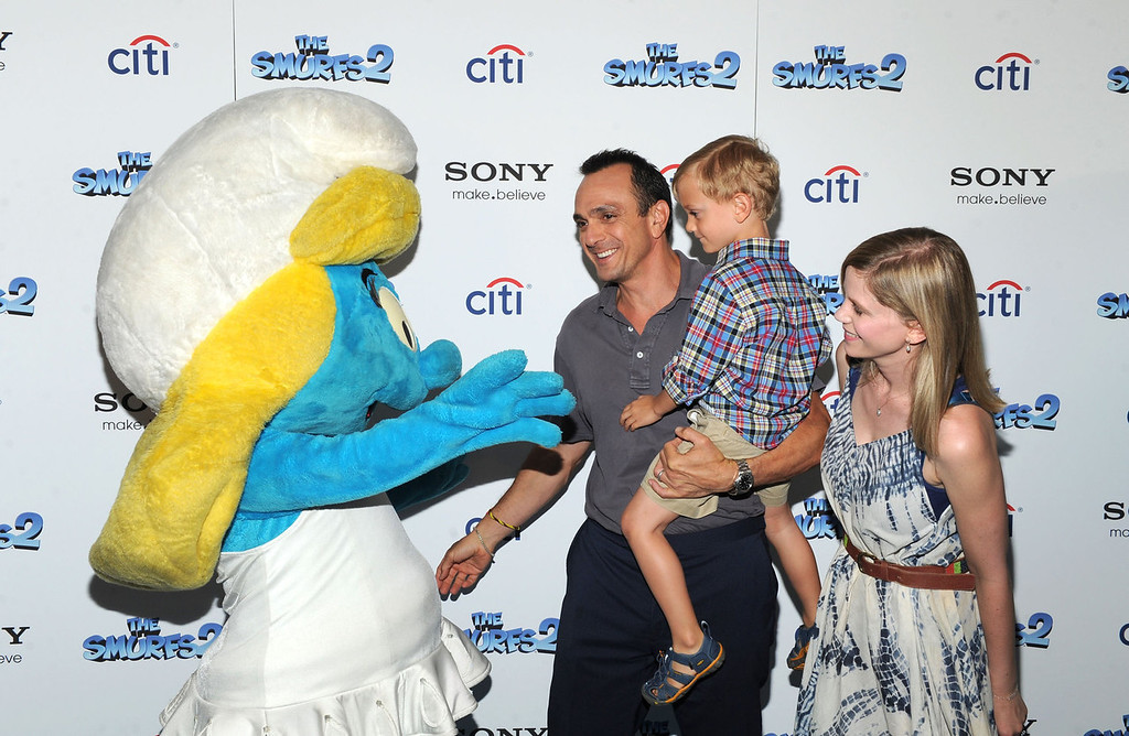 """. Hank Azaria Hank, Hal Azaria and Katie Wright attend \""""The Smurfs 2\"""" New York Blue Carpet Screening at Lighthouse International Theater on July 28, 2013 in New York City.  (Photo by Craig Barritt/Getty Images"""