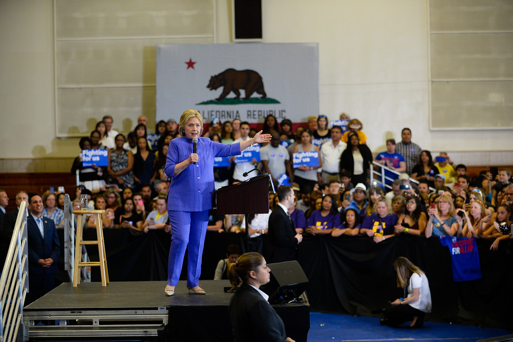 . Democratic presidential candidate Hillary Clinton holds campaign rally at Cal State San Bernardino in San Bernardino, CA on Friday, June 3, 2016. (Photo by Rachel Luna/The Sun, SCNG)