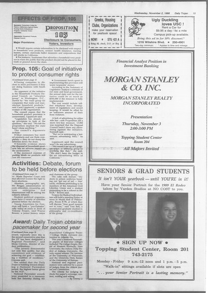 Daily Trojan, Vol. 107, No. 40, November 02, 1988