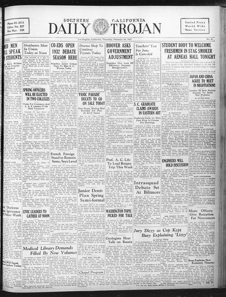 Daily Trojan, Vol. 23, No. 91, February 18, 1932