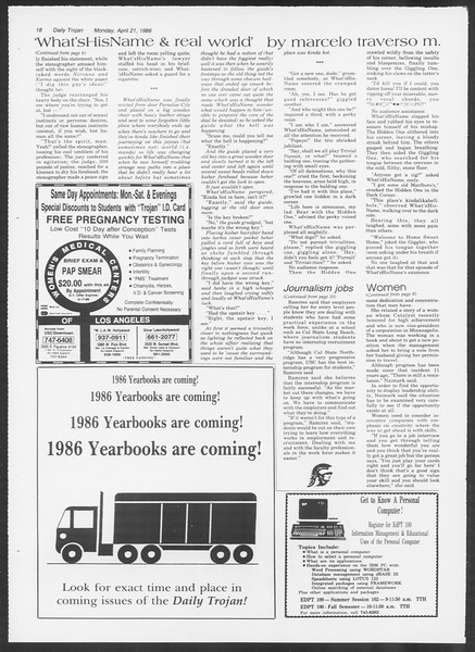 Daily Trojan, Vol. 100, No. 64, April 21, 1986