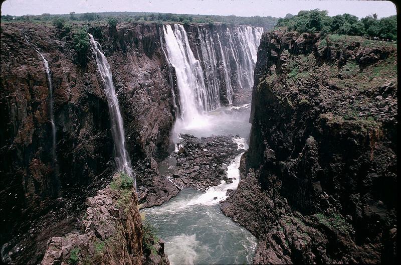 start of Zambezi River at the base of Victoria Falls
