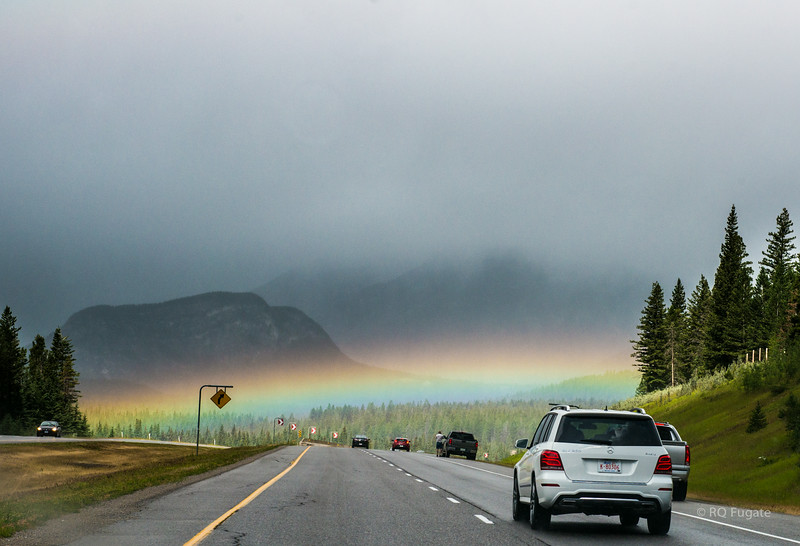 World's lowest rainbow! On the road out of Canmore toward Banff.