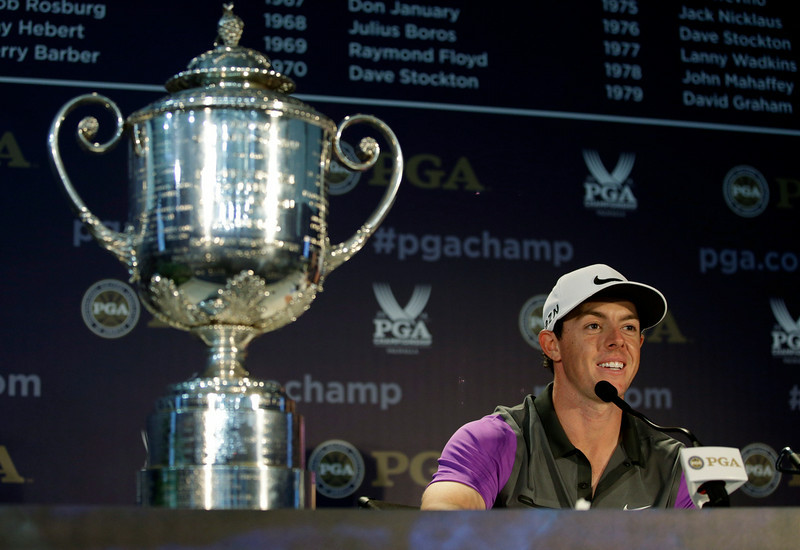 . Rory McIlroy, of Northern Ireland, speaks to the media during a news conference after winning the PGA Championship golf tournament at Valhalla Golf Club on Sunday, Aug. 10, 2014, in Louisville, Ky. (AP Photo/John Locher)