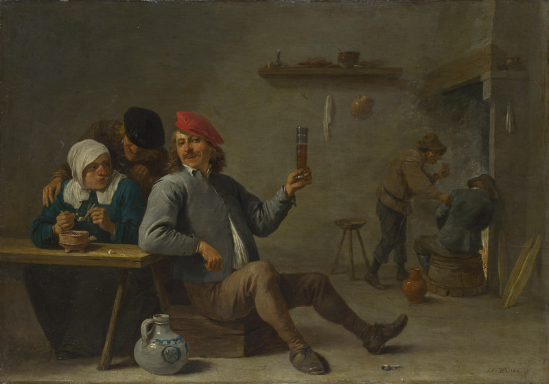 A Man holding a Glass and an Old Woman lighting a Pipe