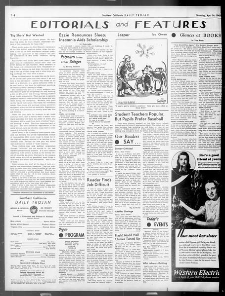 Daily Trojan, Vol. 33, No. 122, April 16, 1942