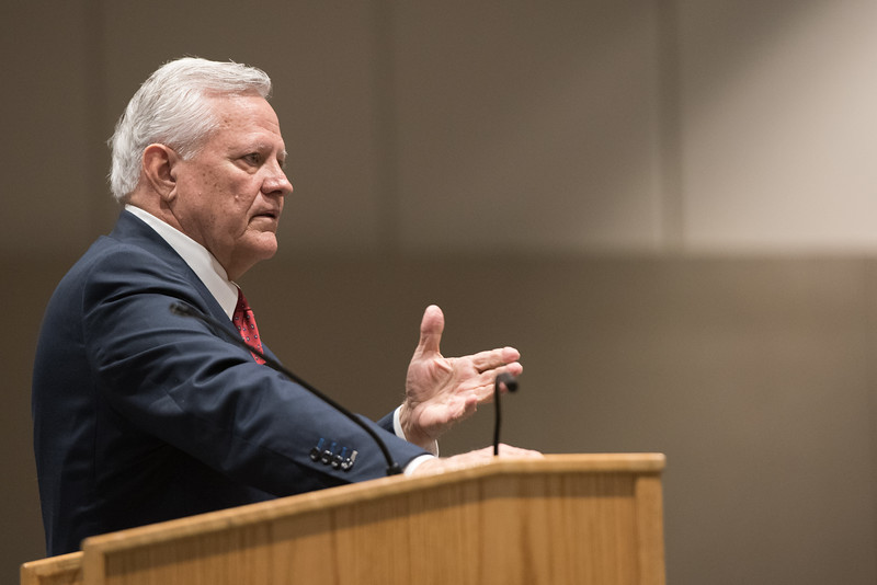 Larry Mills during the G. Russell Kirkland and Visiting Executive Lecture in the Anchor Ballroom.More photos: https://flic.kr/s/aHskvVFPKY