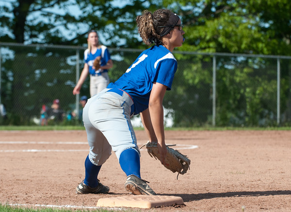 05/21/18 Wesley Bunnell   Staff Bristol Eastern softball defeated Bristol Central on Monday afternoon at Bristol Central High School. Lauren Aparo (7) with a stretch to just nab the runner at first.