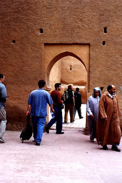 Walking through an entrance in Marrakesh, Morocco