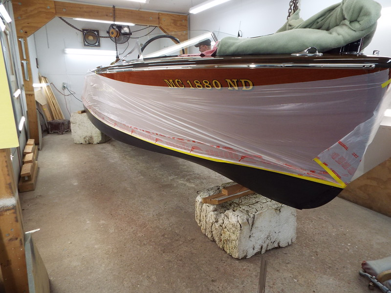 Starboard side masked ready for bottom paint.