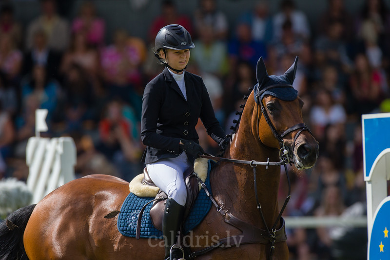 Aleksandra WIECKOWSKA (POL) with the horse GOLDIK GIRL, World Cup competition, Grand Prix Riga, CSI2*-W, CSIYH1* - Riga 2016, Latvia