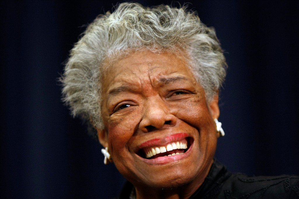 ". In this Nov. 21, 2008 file photo, poet Maya Angelou smiles at an event in Washington. Angelou, author of ""I Know Why the Caged Bird Sings,\"" has died, Wake Forest University said Wednesday, May 28, 2014.  She was 86.  (AP Photo/Gerald Herbert, File)"