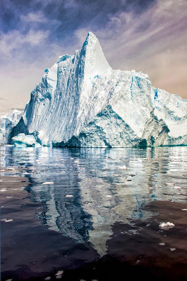 A lone iceberg floats in Cierva Cove.