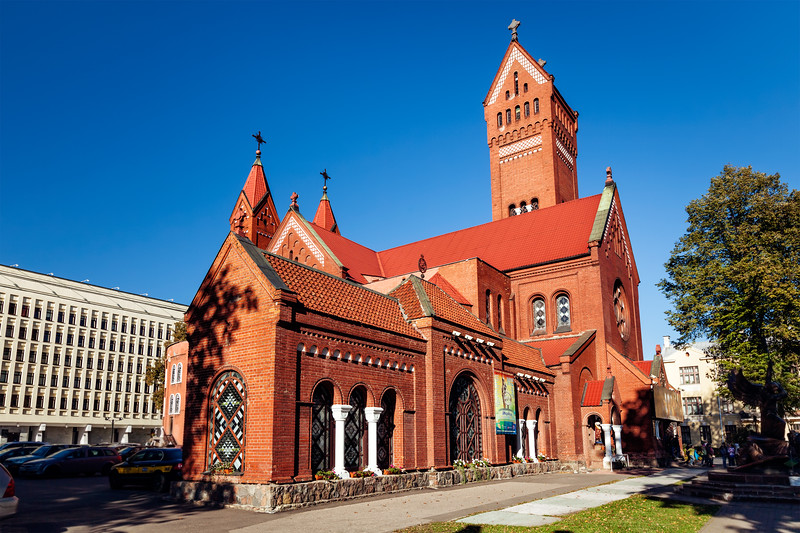 MINSK, BELARUS - OCTOBER 6, 2015: Church of Saints Simon and Helena on Independence Square