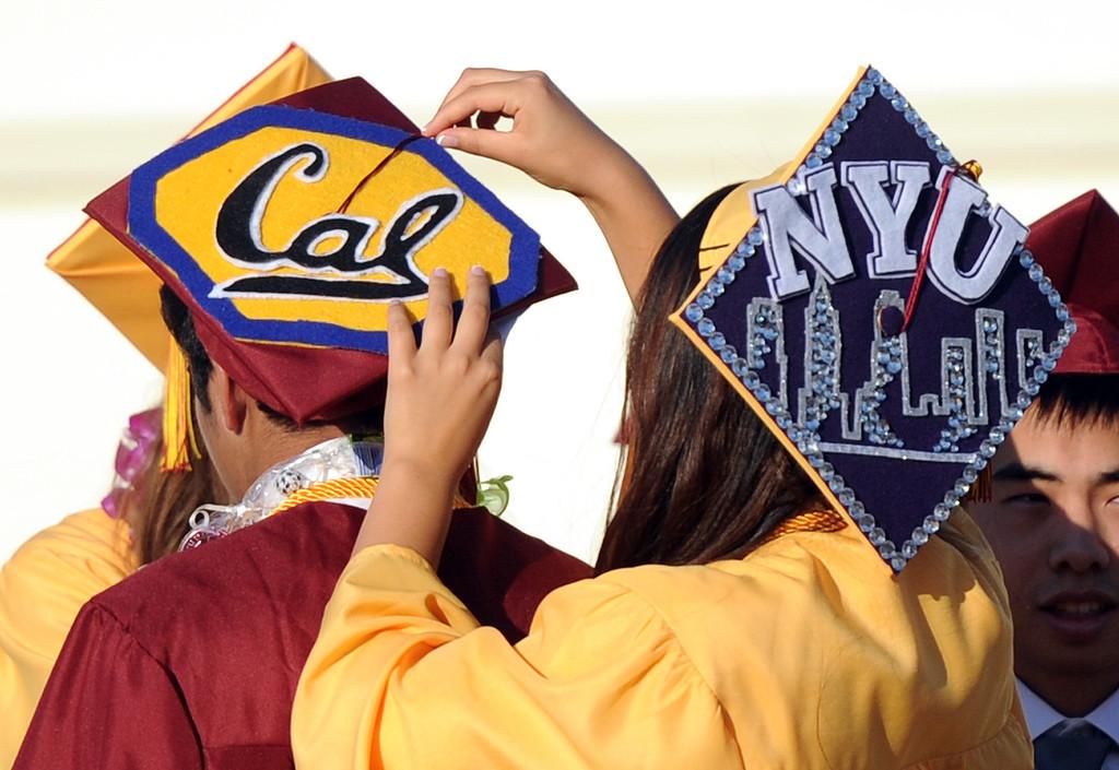 . Colorful caps during the La Canada High School commencement at La Canada High School on Thursday, June 13, 2013 in La Canada, Calif.  (Keith Birmingham/Pasadena Star-News)