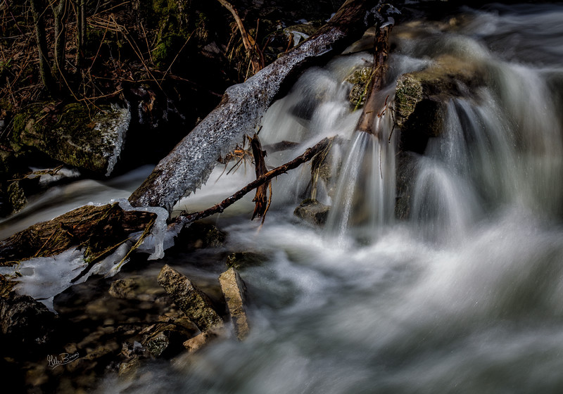 Base of Cape Vessey Waterfall, Waupoos, Prince Edward County, February 24, 2018 ,Canon 6D, 55mm, 1.0 sec, F14, ISO 50