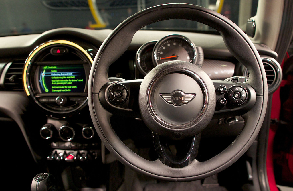 . The new Mini Cooper is pictured following its official unveiling event at BMW\'s plant at Cowley in Oxford, central England, on November 18, 2013. Car giant BMW, which has been manufacturing the Mini since 2001, has finally taken the wraps off the  new Mini that will be available in the UK in Spring 2014. ANDREW COWIE/AFP/Getty Images