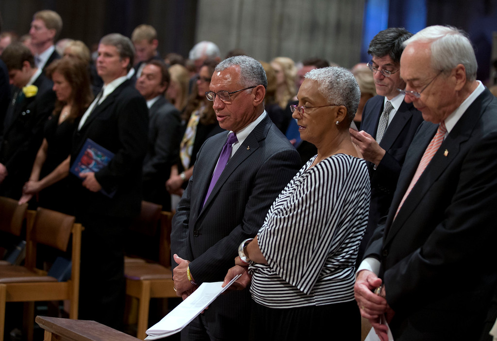 . Former astronaut and NASA administrator Charles Bolden, left, and his wife Alexis Bolden pause during a memorial service for Apollo 11 astronaut Neil Armstrong, Thursday, Sept. 13, 2012, at the National Cathedral in Washington.  (AP Photo/Pool, Evan Vucci)