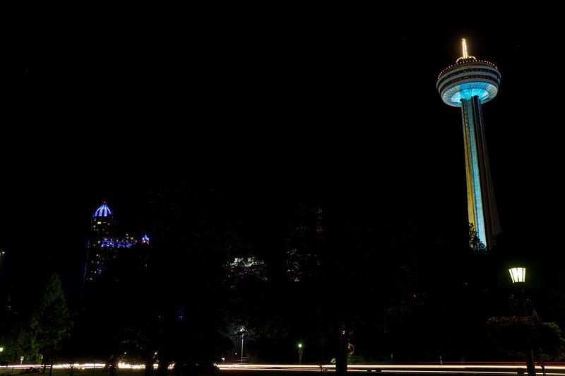 The Skylon Tower At Night