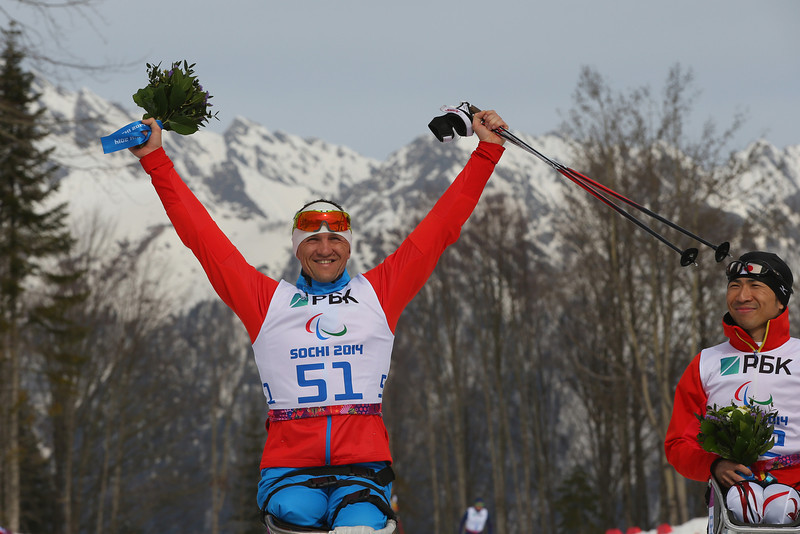 . Roman Petushkov of Russia celebrates victory in the men\'s 7.5km sitting Biathlon during day one of Sochi 2014 Paralympic Winter Games at Laura Cross-country Ski & Biathlon Center on March 8, 2014 in Sochi, Russia.  (Photo by Mark Kolbe/Getty Images)