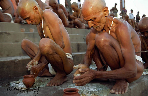 Hundreds of about to be monks of the Abahan Akhara, are initiated on the Ram Ghat above the Sipara River.
