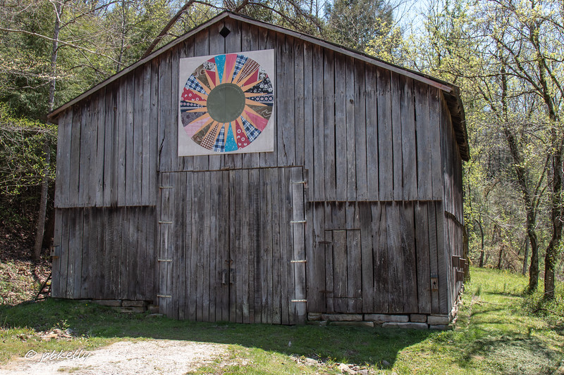 Barn at the Gladie settlement.  Bird houses down the side.