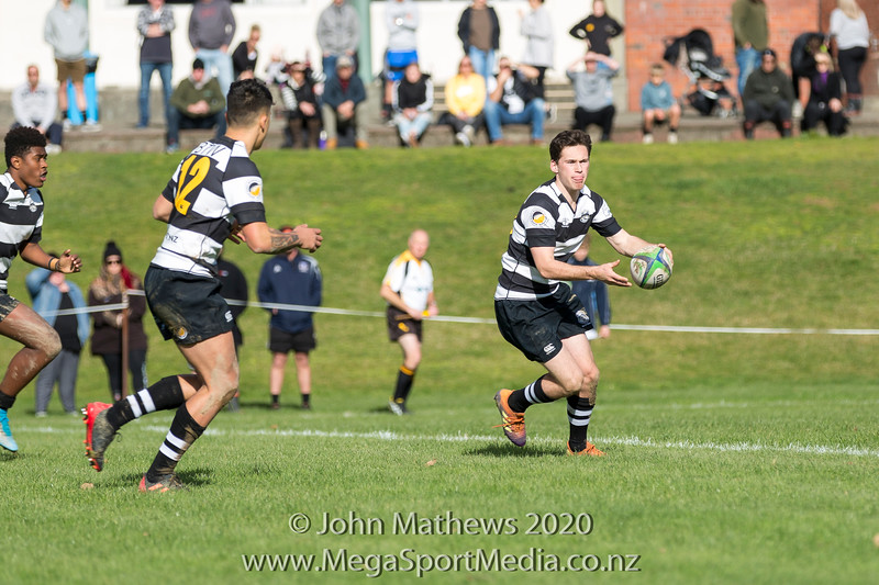 Jack Parker with the ball on 11 July 2020 at the Rugby match between St Patrick's College Silverstream (Blue) and New Plymouth Boys High School (Black) held at  St Patrick's College Silverstream , Heretaunga, Wellington, New Zealand.   Final Score: Stream 31 NPBHS 32