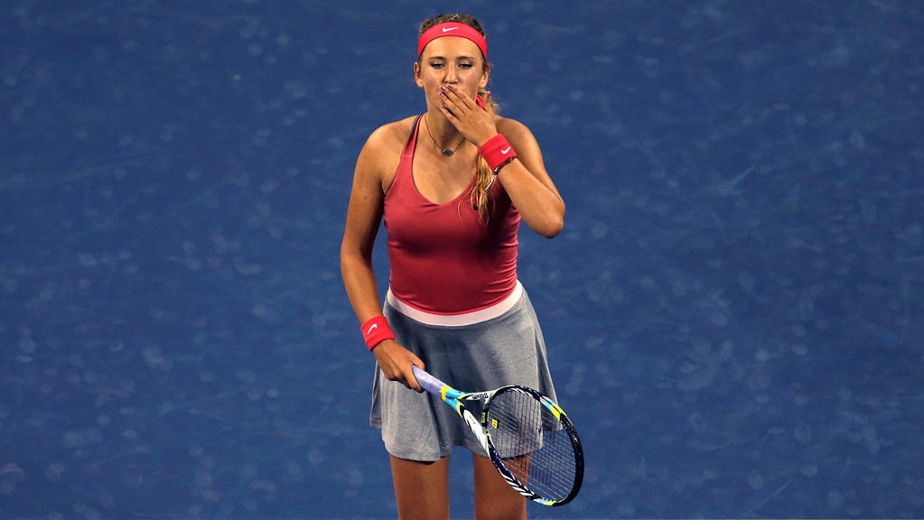 . Victoria Azarenka, of Belarus, blows a kiss to the crowd after her match against Dinah Pfizenmaier, of Germany, in the first round of the 2013 U.S. Open tennis tournament, Tuesday, Aug. 27, 2013, in New York. Azarenka won 6-0, 6-0. (AP Photo/Charles Krupa)