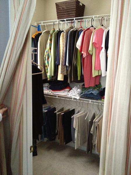 Walk-in closet for master bedroom, accessible through master bathroom