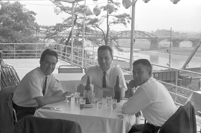 President of Thermo, makers of precision furnaces for semiconductor manufacturing, Emil the Fairchild guy, and Kamo of TEL.  Kamo in later years became President of Intel Japan.  The river in the background is the Tamagawa River, separating Tokyo and Yokohama.  The train tressel crossing the river is the dedicated track for the newly introduced Shinkansen 200km train.