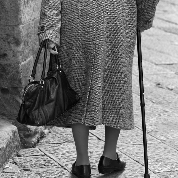 Old Lady with Cane - Volterra, Pisa, Italy - March 25, 2016