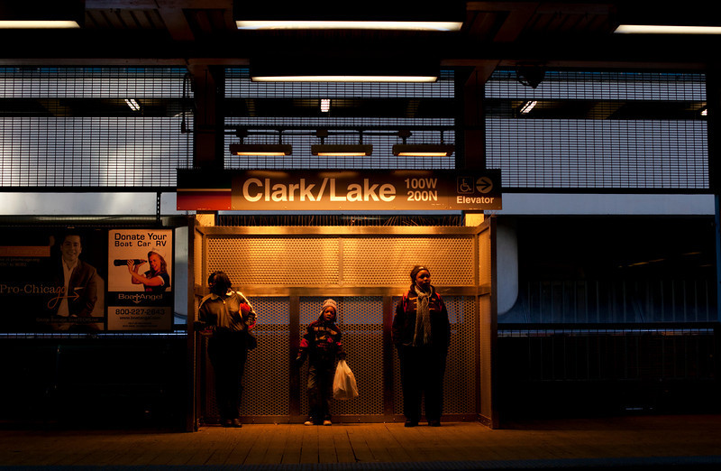 Waiting for the Metra at Clakr and Lake in Chicago, Illinois on February 19, 2011.  (Jay Grabiec)