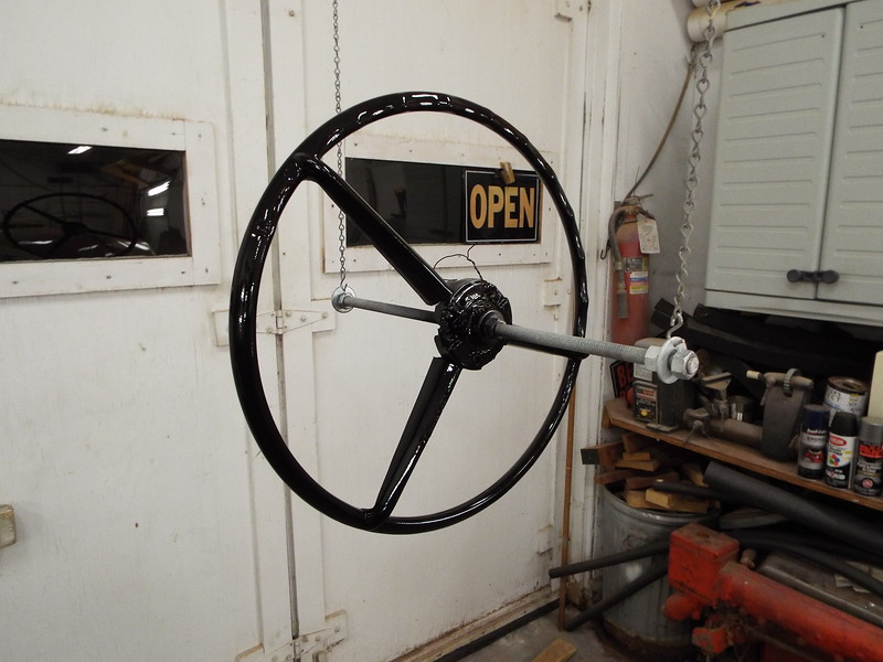 Anothe view of the refinished steering wheel.
