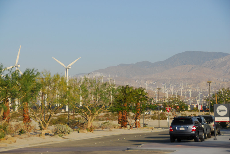 The windmills and Coachella Valley in Palm Springs along Amtrak route in California