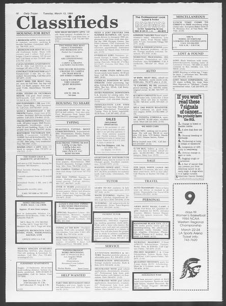 Daily Trojan, Vol. 95, No. 44, March 13, 1984