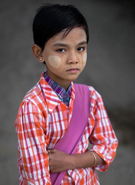 Portrait of a young school girl.  Myanmar 2017