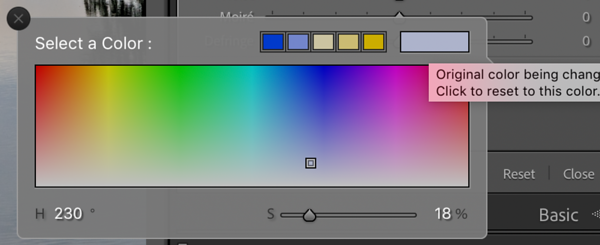Color Finder of the Graduated Filter Settings