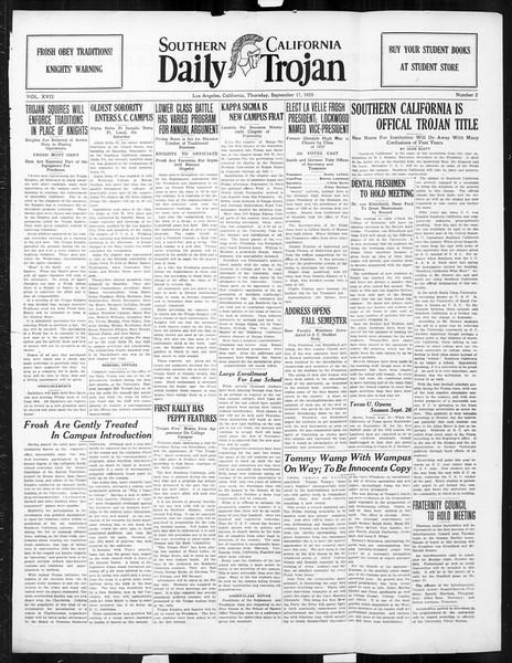 Daily Trojan, Vol. 17, No. 2, September 17, 1925