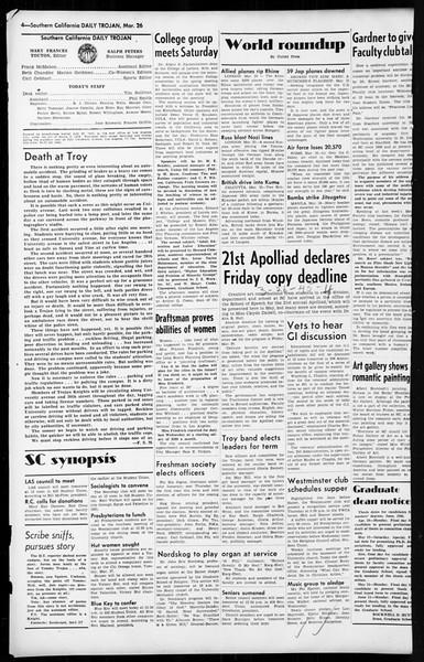 Daily Trojan, Vol. 36, No. 86, March 26, 1945