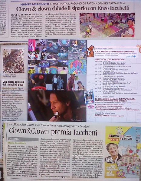 """Italian Newspaper Articles Oct 2010 Corriere Adriatico-Civitanova: Notizie Flash """"Una piazza colorata dai simbolidi pace"""" & """"Clown&Clown premia Iacchetti"""" il Resto del Carlino- Macerata Provinicia: Clown &Clown chiude il sipario con Enzo Iacchetti Clown & Clown 2010 brochure featuring CHALK4PEACE """"Un Gessetto per la Pace"""" 2 Oct. 2010"""