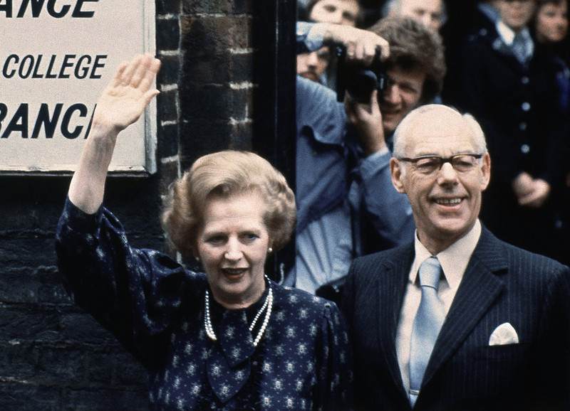 . This is a June 9, 1983. file photo of British Prime Minister Margaret Thatcher leaves the Castle lane, Westminster, London  England polling station with her husband, Dennis, after casting their votes in the general election . Former British Prime Minister Margaret Thatcher, whose conservative ideas made an enduring impact on Britain Monday April 8, 2013, has died. She was 87.  (AP Photo/Peter Kemp)