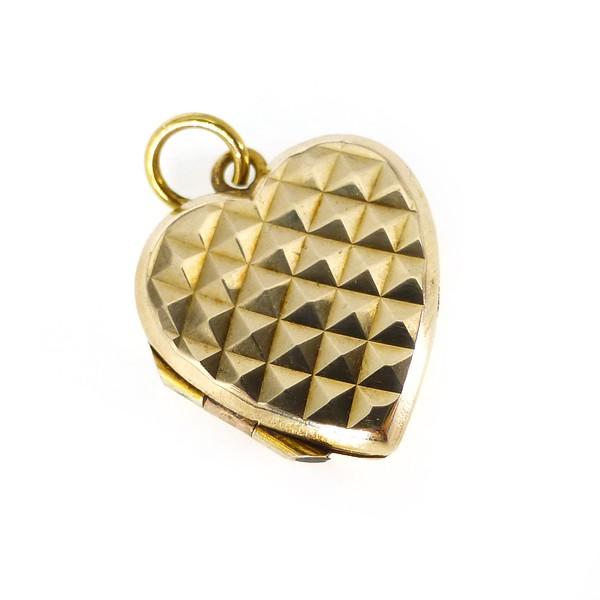 Vintage Mid Century Gold Back & Front Heart Shaped Locket